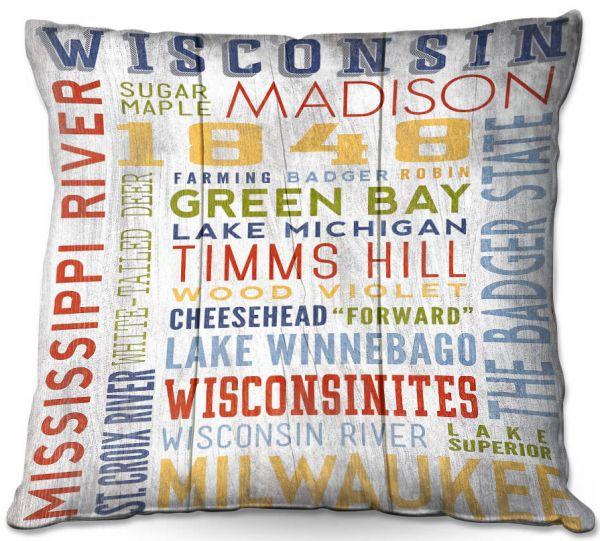 Unique Outdoor Patio Pillows Lantern Press Wisconsin Quotes Dianoche Designs