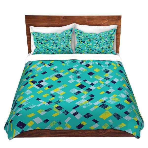 Unique Comforter Covers Metka Hiti Island Teal Yellow Dianoche Designs