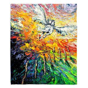 Decorative Fleece Throw Blankets   Aja Ann - 8 of Wands   Tarot Pegasus Unicorn