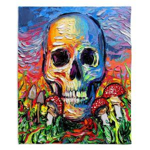 Decorative Fleece Throw Blankets   Aja Ann - Back to the Earth   Skull Mushrooms Abstract