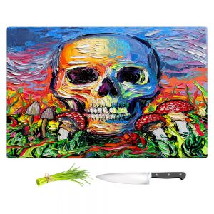 Artistic Kitchen Bar Cutting Boards   Aja Ann - Back to the Earth   Skull Mushrooms Abstract