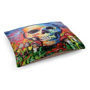 Decorative Dog Pet Beds | Aja Ann - Back to the Earth | Skull Mushrooms Abstract