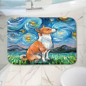 Decorative Bathroom Mats | Aja Ann - Basenji Dog | Starry Night Dog Animal