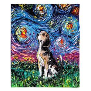 Artistic Sherpa Pile Blankets | Aja Ann - Beagle Dog | Starry Night Dog Animal