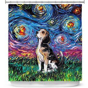 Premium Shower Curtains | Aja Ann - Beagle Dog | Starry Night Dog Animal
