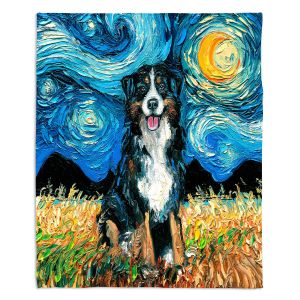 Decorative Fleece Throw Blankets | Aja Ann - Bernese Mountain Dog | Starry Night Dog Animal