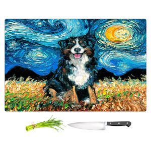Artistic Kitchen Bar Cutting Boards | Aja Ann - Bernese Mountain Dog | Starry Night Dog Animal