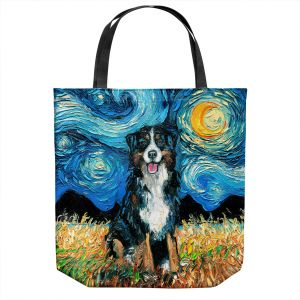 Unique Shoulder Bag Tote Bags   Aja Ann - Bernese Mountain Dog   Starry Night Dog Animal