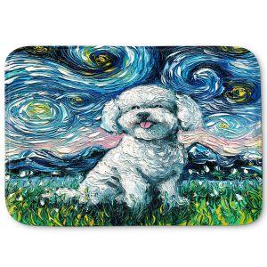 Decorative Bathroom Mats | Aja Ann - Bichon Frise Dog | Starry Night Dog Animal