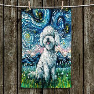 Unique Bathroom Towels | Aja Ann - Bichon Frise Dog | Starry Night Dog Animal