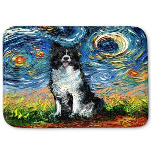 Decorative Bathroom Mats | Aja Ann - Border Collie Dog 2 | Starry Night Dog Animal