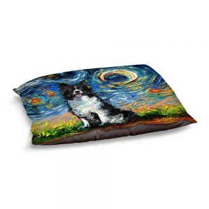 Decorative Dog Pet Beds | Aja Ann - Border Collie Dog 2 | Starry Night Dog Animal