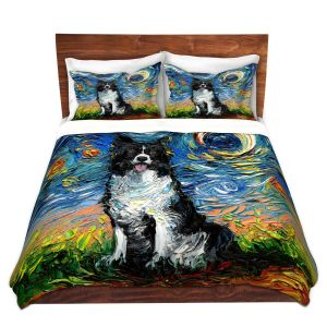 Artistic Duvet Covers and Shams Bedding | Aja Ann - Border Collie Dog 2 | Starry Night Dog Animal