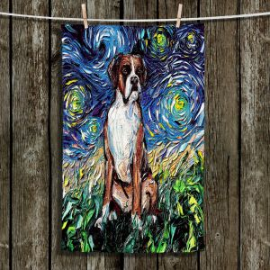 Unique Hanging Tea Towels | Aja Ann - Boxer Dog | Starry Night Dog Animal
