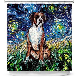 Premium Shower Curtains | Aja Ann - Boxer Dog | Starry Night Dog Animal