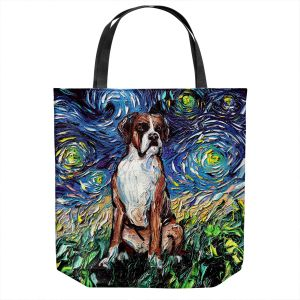 Unique Shoulder Bag Tote Bags | Aja Ann - Boxer Dog | Starry Night Dog Animal