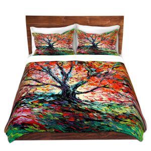 Artistic Duvet Covers and Shams Bedding | Aja Ann - Breathe In | Landscape Tree Fire