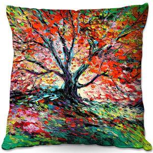 Decorative Outdoor Patio Pillow Cushion | Aja Ann - Breathe In | Landscape Tree Fire