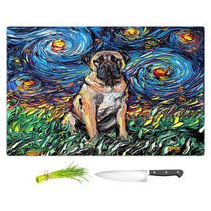 Artistic Kitchen Bar Cutting Boards | Aja Ann - Bull Mastiff Dog | Starry Night Dog Animal