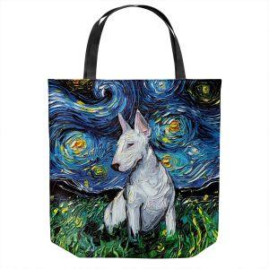Unique Shoulder Bag Tote Bags   Aja Ann - Bull Terrier Dog   Starry Night Dog Animal