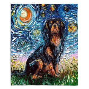 Decorative Fleece Throw Blankets | Aja Ann - Cavalier King Charles Spaniel | Starry Night Dog Animal