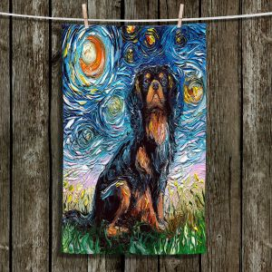 Unique Bathroom Towels | Aja Ann - Cavalier King Charles Spaniel | Starry Night Dog Animal