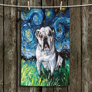 Unique Hanging Tea Towels | Aja Ann - Charlie Bulldog | Starry Night Dog Animal