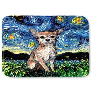 Decorative Bathroom Mats | Aja Ann - Chihuahua Dog | Starry Night Dog Animal