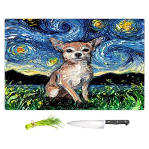 Artistic Kitchen Bar Cutting Boards | Aja Ann - Chihuahua Dog | Starry Night Dog Animal