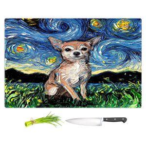 Artistic Kitchen Bar Cutting Boards | Aja Ann - Chihuahua Dog | Starry Night Dog Animal