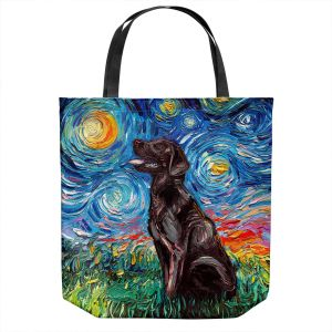 Unique Shoulder Bag Tote Bags | Aja Ann - Chocolate Labrador | Starry Night Dog Animal