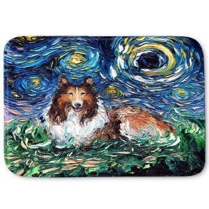 Decorative Bathroom Mats | Aja Ann - Collie Dog | Starry Night Dog Animal