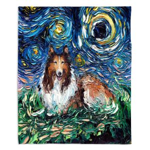 Artistic Sherpa Pile Blankets | Aja Ann - Collie Dog | Starry Night Dog Animal