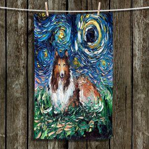 Unique Bathroom Towels | Aja Ann - Collie Dog | Starry Night Dog Animal