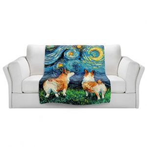Artistic Sherpa Pile Blankets   Aja Ann - Corgi Night   Corgi Dog van Gogh starry night