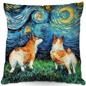 Throw Pillows Decorative Artistic | Aja Ann - Corgi Night | Corgi Dog van Gogh starry night