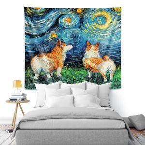 Artistic Wall Tapestry   Aja Ann - Corgi Night   Corgi Dog van Gogh starry night