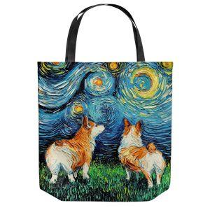 Unique Shoulder Bag Tote Bags | Aja Ann - Corgi Night | Corgi Dog van Gogh starry night