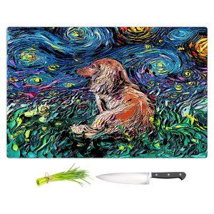 Artistic Kitchen Bar Cutting Boards | Aja Ann - Dachsund Dog | Starry Night Dog Animal