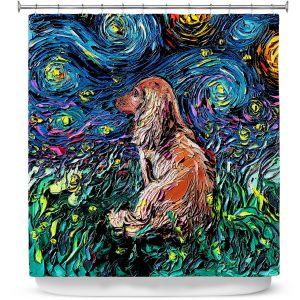Premium Shower Curtains | Aja Ann - Dachsund Dog | Starry Night Dog Animal