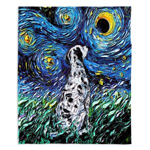 Decorative Fleece Throw Blankets | Aja Ann - Dalmatian Dog | Starry Night Dog Animal
