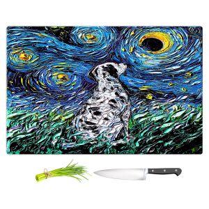 Artistic Kitchen Bar Cutting Boards | Aja Ann - Dalmatian Dog | Starry Night Dog Animal