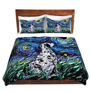 Artistic Duvet Covers and Shams Bedding | Aja Ann - Dalmatian Dog | Starry Night Dog Animal