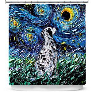 Premium Shower Curtains | Aja Ann - Dalmatian Dog | Starry Night Dog Animal