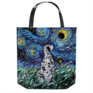 Unique Shoulder Bag Tote Bags | Aja Ann - Dalmatian Dog | Starry Night Dog Animal