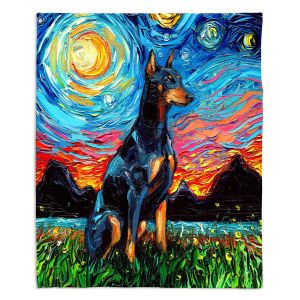 Decorative Fleece Throw Blankets | Aja Ann - Doberman Dog | Starry Night Dog Animal