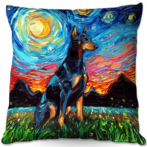 Throw Pillows Decorative Artistic | Aja Ann - Doberman Dog | Starry Night Dog Animal