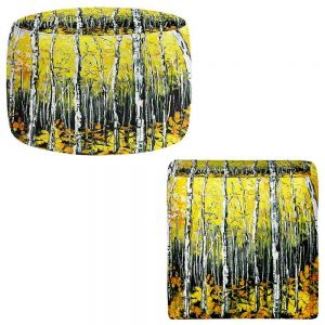 Round and Square Ottoman Foot Stools | Aja Ann - Fall Aspens Trees