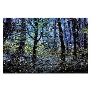 Decorative Floor Covering Mats | Aja Ann - Fireflies | Abstract Landscape Trees