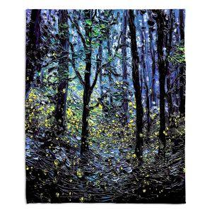 Decorative Fleece Throw Blankets | Aja Ann - Fireflies | Abstract Landscape Trees